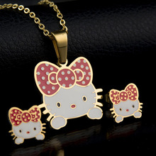Luxury Quality Titanium Stainless Steel Jewelry Sets 316l Hello Kitty Children Jewelry Sets Fashion Jewelry