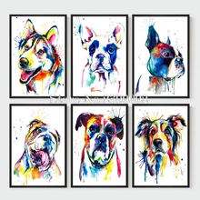 Animals Home Decoration 5D Diy Diamond Painting Resin Full Diamond Mosaic Embroidery Needlework Watercolor Painting Art Dogs(China)