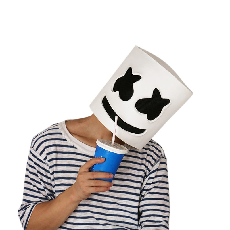 Marshmello Helmet Head Mask Funny Cosplay Costume Headwear Accessory for Halloween Carnival DJ Mask Party Props On Sale