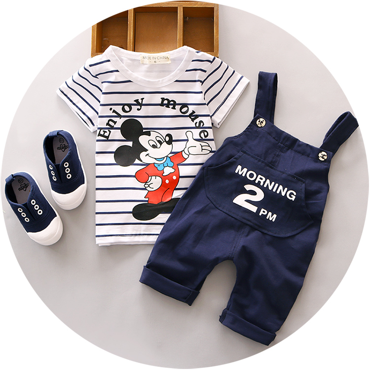 2016 Summer new baby set striped cotton material o-neck with mouse printed 1 2 3 y boys clothing set A124<br><br>Aliexpress