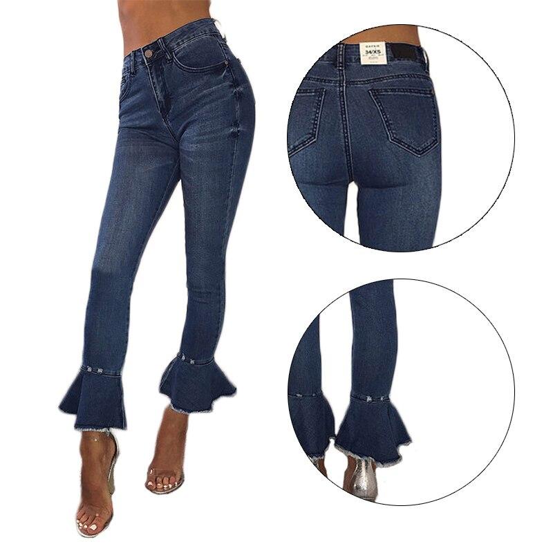 Compre Pantalones De Tacón De Mujer Denim New Stretch Trousers Raw ...