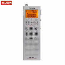 Brand Tecsun PL360 PLL World Band DSP Radio station receiver with ETM AM FM SW LW PL-360 Black Silver Available built-in speaker