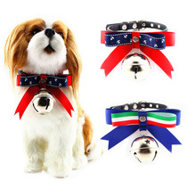 Top PU collars 5pcs/Lot small Dog Collars big bells collar dog bow ties Pet Cat Puppy Collars Fashion Dog Necklaces Pet Supplies