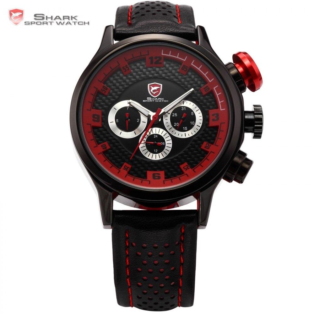 Brand SHARK Sport Watch 6 Hands Leather Strap Stainless Steel Date Clock Men Wristwatch Military Montre Quartz Watches / SH086<br><br>Aliexpress