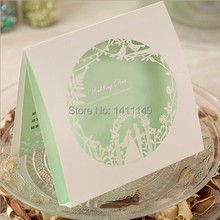 30pcs/lot color green white laser cut bride and groom wedding invitation card  wedding invitations with free shipping