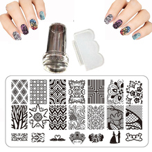 Design 12x6cm BC Nail Stamping Plates Set Print Squishy Lace Patterns Steel Plate Nail Art Templates And Knife Transparent Stamp(China)