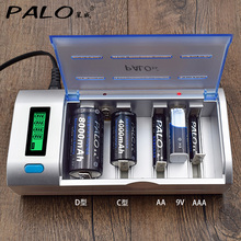 PALO Multi Usage LED Indicator Charger For aa batteries Nimh Nicd AAA/SC/C/D/lithium 6F22 9V Battery chargers power bank 18650(China)