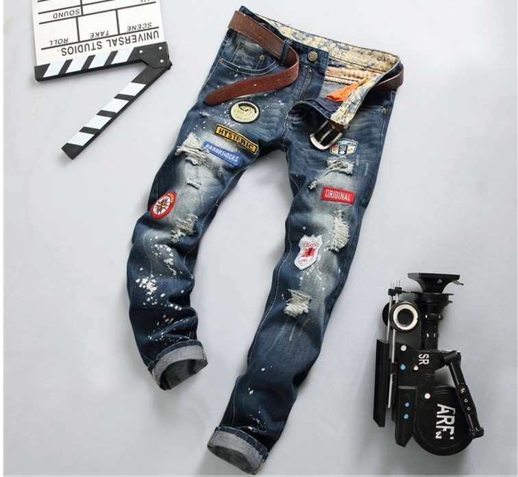 2017 New Arrival Spring Mens Casual Jeans Slim Regular Straight Fit Denim Plus Size Elastic simple Mens Pants Hole Trouses #778Одежда и ак�е��уары<br><br><br>Aliexpress
