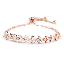 New Arrival marquise and round Cubic Zirconia Crystal  Adjustable Zircon Bracelets in rose gold and white gold