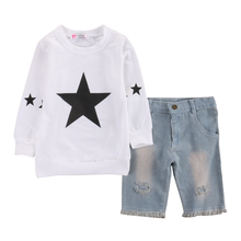 2017 Fashion Toddler Kids Clothes Baby Girls Star Long Sleeve T-shirt Tops Hole Denim Jean Short Pant 2PCS Outfit Clothing Set