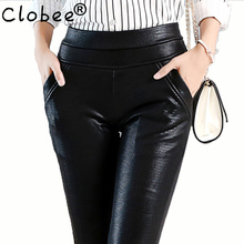 Sexy Crocodile Pattern leather pants women plus size stretch faux leather trousers ladies female high waist black pencil pants