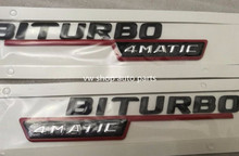 Free shipment 2X BITURBO 4MATIC SIDE FENDER BLACK WITH RED EMBLEM FOR MERCEDES AMG 4 MATIC(China)