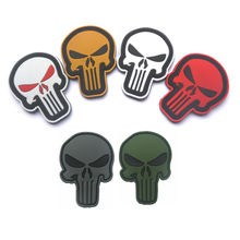 Rubber Patch The Punisher Skull PVC Patches Military Tactical Armband Hook Back Sewing Applique Cap Bag Jacket Badge Badges(China)