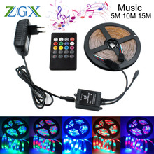 SMD 2835 RGB Music LED Strip light tira 5M 10M 15M Decor Flexible Tape waterproof diode ribbon Remote Controller DC 12V adapter(China)