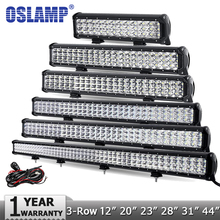 "Oslamp 12"" 20"" 23"" 28"" 31"" 44"" 3-Row LED Light Bar Offroad Combo Beam Led Work Light Bar DC12v 24v Truck SUV ATV 4WD 4x4 Led Bar"
