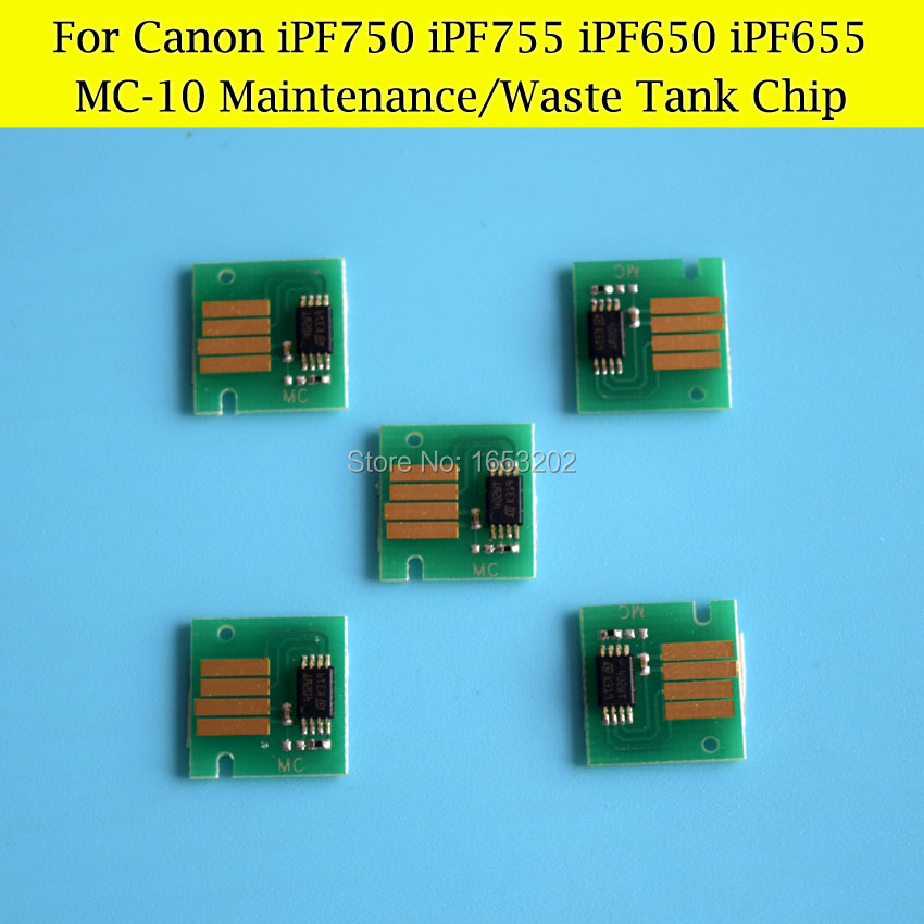 5 PCS/Lot MC-10 Maintenance Tank Chips For Canon iPF750 iPF755 iPF760 IPF650 IPF655 IPF765 Waste Ink Tank<br><br>Aliexpress