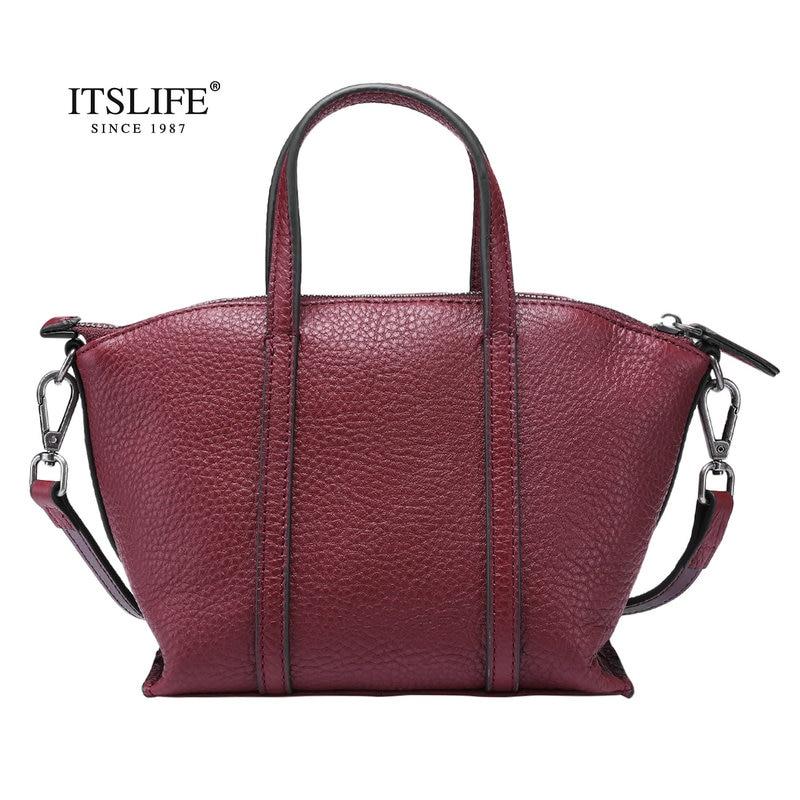 Itslife 2018 New Womens Genuine Leather Shoulder Bag Small Cowhide Handbag Soft Vintage Tote High quality Ladies Bag Fashion<br>
