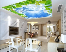 3D photo wallpaper blue sky 3D stereo wallpaper decoration ceiling mural sky background wallpaper mural(China)