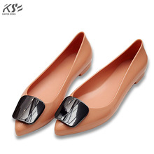 women flats rubber jelly shoes women candy summer luxury designer famous brand model  flat slip on shoes female beach shoes