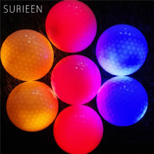 Hot 4Pcs LED Light Golf Flashing Balls Red Light-up Golfer Flashing Balls Glowing Constant Shining Two Layer Night Training Ball