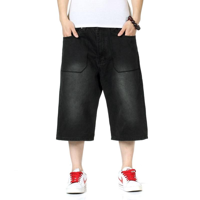 2017 New Mens Straight Loose Hiphop Streetwear Baggy Jeans Shorts Men Summer Shorts Jeans Black Short Pants Plus Size 38 40 42Îäåæäà è àêñåññóàðû<br><br>
