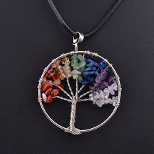Rainbow Chakra Tree Of Life Quartz Chips Pendant Necklace Multicolor Wisdom Tree Natural Stone Necklaces For Women Jewelry 3380