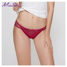 Women Sexy Lace panties , Women's Low Waist Cotton crotchless Briefs transparent Underwear Thongs Ladys pure cotton pant(China)