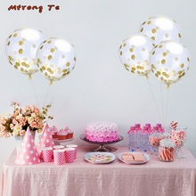 Mtrong Te 100pcs 12inch crystal gold confetti latex balloons wedding birthday party decoration kids globo toys confetti balloons(China)