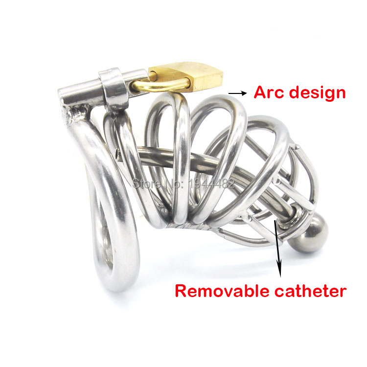 Sex Toys Stainless Steel Male Chastity cage With Arc-shaped Cock Ring penis cage Catheter penis plug Chastity Device<br>