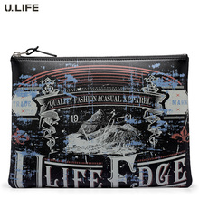 "U.LIFE - Brand Special Offer Graffiti Full Grain Cowskin Wristlet Men Women Leather Handbags Day Clutch Bag for 9.7"" iPad J35(China)"