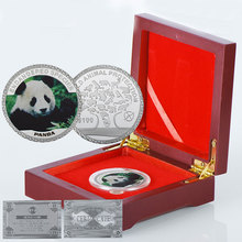 WR China Commemorative Coin Decorative Panda Cute Animal Silver Coins 999.9 Silver Plated Metal Coin In Wooden Box(China)