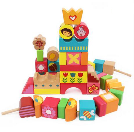 MamimamiHome Baby Wooden Cognition Toy Dora Garden Threading Building Blocks Montessori Toys For Newborns Building Blocks<br>