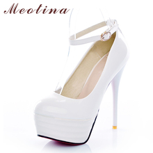 Meotina High Heels Women Shoes White Bridal Shoes Sexy Ultra High Heels Night Club Woman Platform Heels Ladies Pumps Big Size 42