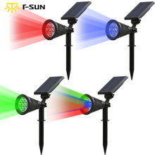 T-SUNRISE 2PACK Outdoor Lighting Solar Powered Spotlight 2-in-1 Adjustable 4 LED Solar Landscape Lamp Light for Outdoor Garden(China)