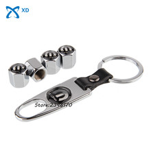 4pcs/set Steel Wheel Tire Valve Stems Caps Stainless For mopar Logo for Nissan KIA Citroen Buick Peugeo Toyota With Keychain