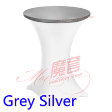 Grey silver colour spandex top cover for round cocktail lycra table cloth wedding banquet party cocktail table decoration sale