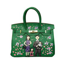 Women's Doodle bag Genuine Leather Graffiti Hand Painting DIY Cartoon Family Tote Handbags Real learher Christmas Gifts for Lady(China)