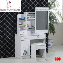 Fashion  bedroom make up dresser with a mini cabinet and a movable slide mirror