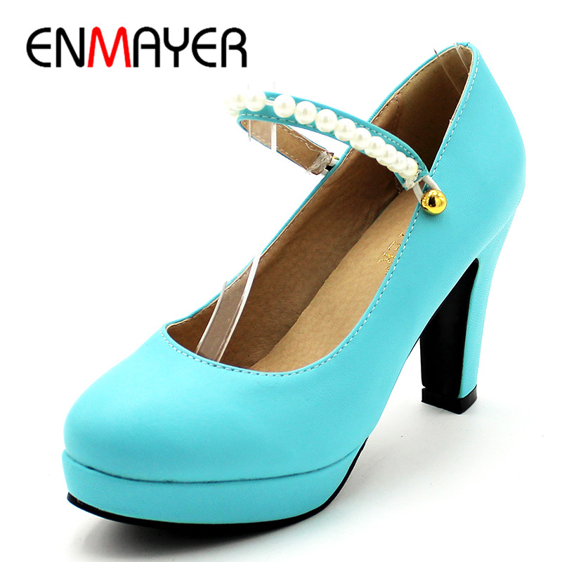 ENMAYER Summer Women Shoes High heels Casual Party Dress Pumps Shoes Ladies Pink Beige Blue Color Widding Buckle Strap Round Toe<br>