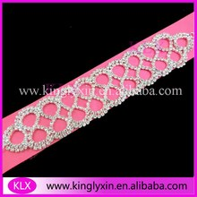 (50pcs/lot) 16cm Silver Plating Circle rhinestone connector for bikini ,rhinestone buckles ,the each side will be Shank(China)