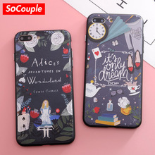 SoCouple Alice Girl Relief Pattern Soft TPU+Hard PC Case For iPhone 6 6s 7 8 6/7/8 plus Cover Phone Cases Bag Protective Shell(China)