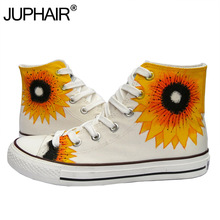 JUP Womens Sunflower Couples Hand Painted Shoes Anime Despicable Me Minions Graffiti Breathable Cartoon Minion Canvas Flat Shoes(China)