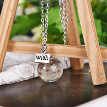 Dandelion Dried Flowers Best Wish Glass Ball Pendants Necklace Women Fashion Jewelry