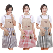 Classical Embroidery Apron Plaid Women Mujer Bowknot Kitchen Chef Apron Dress with Pocket Gifts Shoulder Strap Style ZLW301
