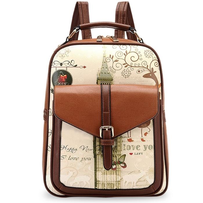 Fashion Backpacks College Wind Women School  Female Pu Leather Backpack Special Printing Backpack Women School Bags<br>