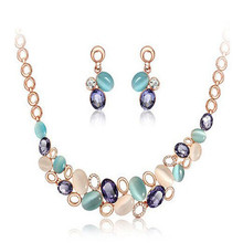 Fine Imitated Gemstone Jewelry Sets Vintage Silver Necklaces Pendants & Earrings Brincos Opal Maxi Statement Collar(China)