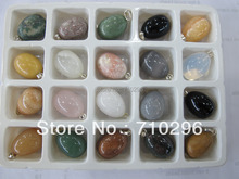 Natural stone eggs pendants wholesale lot mixed agat e sodalite rose pink quartz crystal Multi stone fit genuine stone necklace
