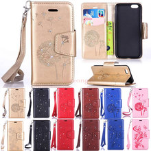 Bling Diamond Embossing Flower Pattern Flip Leather Case for 5 5S SE 6 6S 6Plus 6s Plus iPod Touch 5 6 with Card Holder  A53