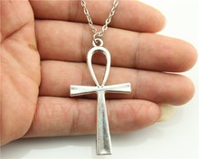 WYSIWYG fashion 3 colors antique gold, antique bronze, antique silver tone 52*28mm ankh cross pendant necklace