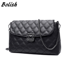 Bolish  Plaid PU Leather Women Handbag Field Lock Women Bag Longer Chain Shoulder Bag Crossbody Bag Day clutches